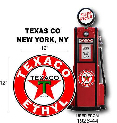 "12"" 1926-44 TEXACO ETHYL GASOLINE DECAL OIL CAN GAS PUMP LUBSTER (TEXA-7)"