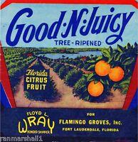 Fort Lauderdale Florida Good N Juicy Orange Citrus Fruit Crate Label Art Print