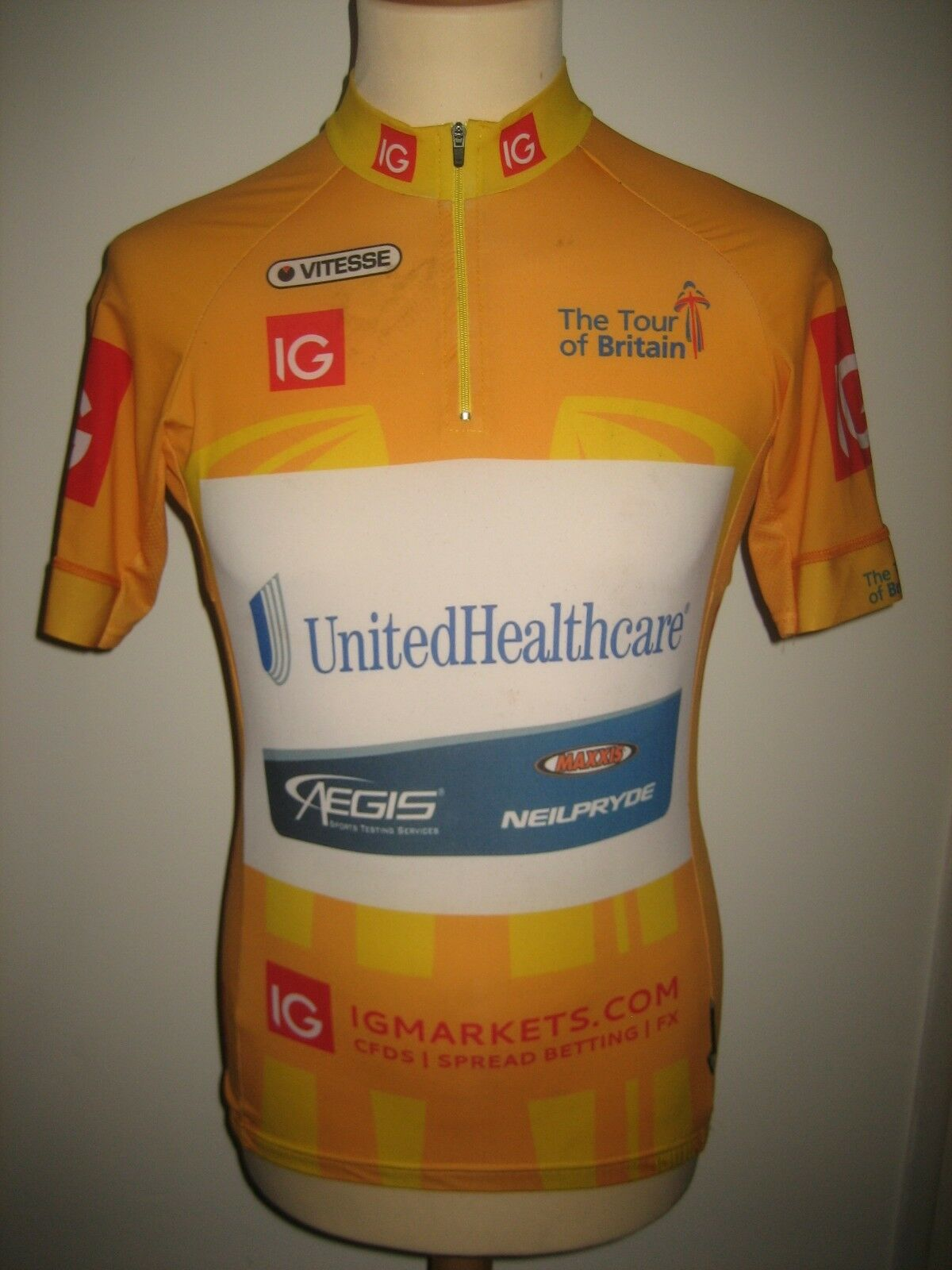 Tour of Britain UnitedHealthcare WORN by VAN POPPEL jersey shirt cycling Größe M