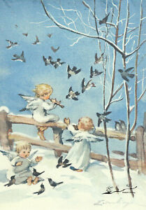 Postkarte: Erica von Kager - Drei Engel musizieren im Schnee mit Vögeln