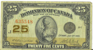 Dominion-of-Canada-1923-25-Cents-Shinplaster-Campbell-Clark-No-Authorized-Fine
