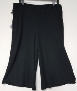 4d39a09ce44d0 NEW Womens Ava   Viv Plus Size X Black Textured Knit Wide Leg Capri ...