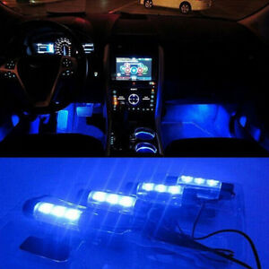 4-X-LED-12V-Car-Auto-Interior-Atmosphere-Light-Decor-Lamp-Blue-LED-Sales