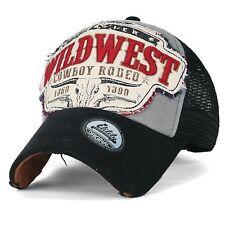 ililily Wild West Patch Vintage Distressed Snapback Trucker Hat Baseball Cap ,