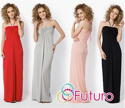 Analytisch Womens Summer Maxi Dress Sleeveless Halter Neck Long Sundress Sizes 8-18 Fm24