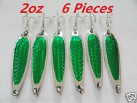 6 Pieces Casting 2oz Crocodile Spoons Green Fishing Lures