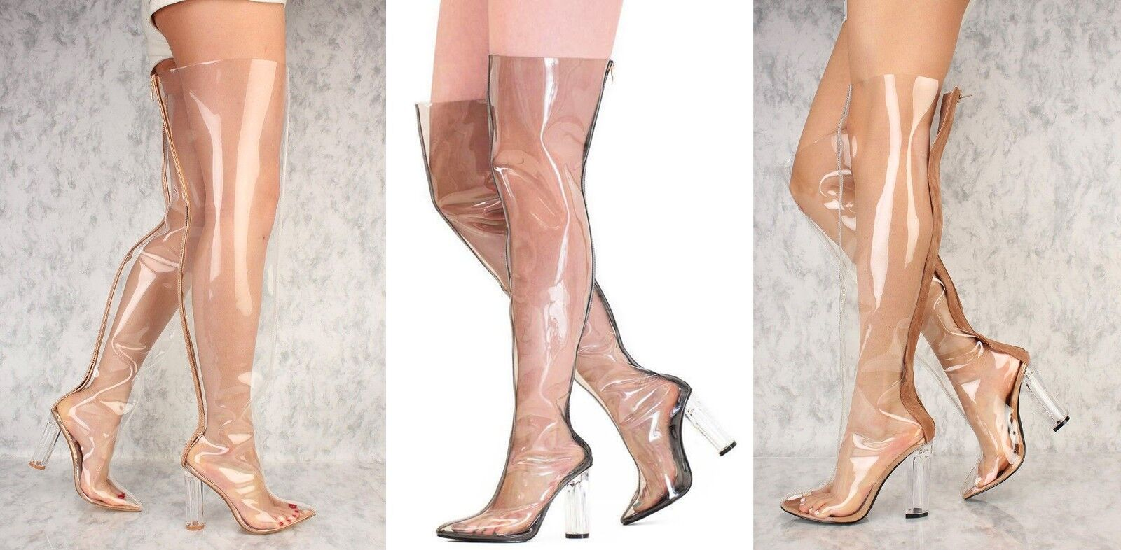 Gold Brown Black Flared Pointy Toe Clear Chunky Heel Thigh High Boots Patent