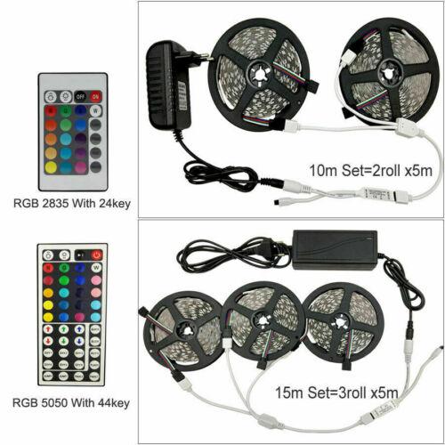 LED Strip Light RGB 5050 SMD 2835 Flexible Ribbon RGB Stripe 5M 10M 15M tape kit