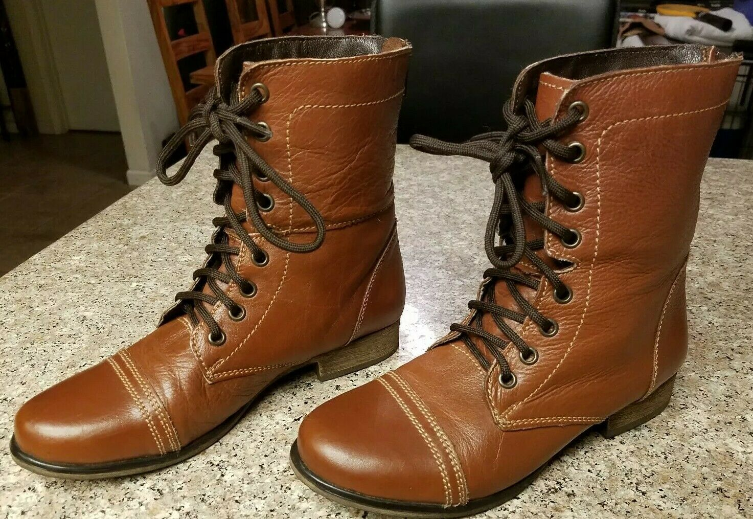 Steve Madden Women's Brown Leather P. Kombat Boots Size 7.5 M Lace Zip Up