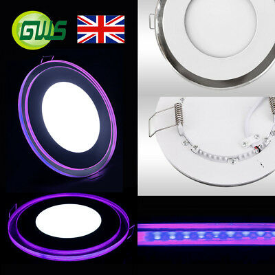 Led Panel Light Recessed Chrome Mirror Purple Edge Lit Round/square Downlight In Veel Stijlen