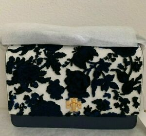 NWT-TORY-BURCH-KIRA-LEATHER-amp-FIL-COUPE-SHOULDER-BAG-598-NEUTRAL-HAPPY-TIMES