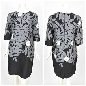 Womens-Marimekko-Shift-Tunic-Dress-Grey-Cotton-Floral-Print-Short-Sleeve-Size-38
