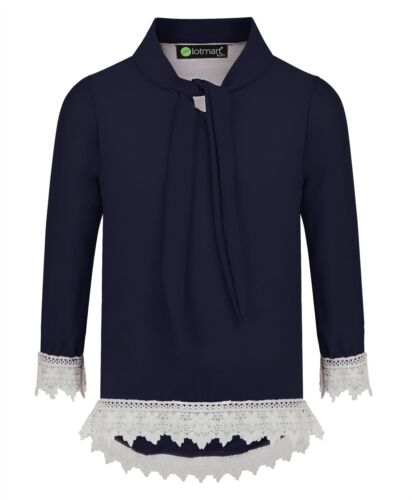 Girls Pussy Bow Lace Hem Blouse Teenagers Contrast Details Tunic Top 3-14 Years