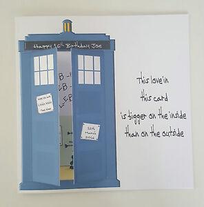 Image Is Loading LARGE Dr Who Tardis 16th Birthday Card Nephew