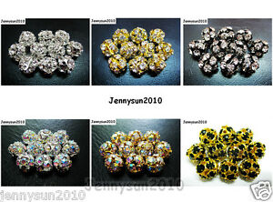 10pcs-Crystal-Rhinestones-Pave-Round-Ball-Spacer-Beads-Pick-your-Color-and-Sizes
