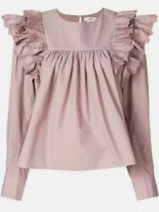 Etoile-Isabel-Marant-Matias-Ruffled-Broderie-Anglaise-Trim-Blouse-38-Grey-Pink