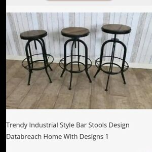 Outstanding Details About Ikayaa Kitchen Stool Dining Stool Bar Stool Chair Round Industrial Style Pabps2019 Chair Design Images Pabps2019Com