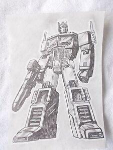 A4 Art Graphite Pencil Sketch Drawing Transformers Optimus Prime A