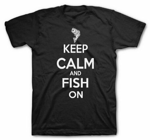 Kid/'s Keep Calm and Fish on t-shirt youth fishing tees