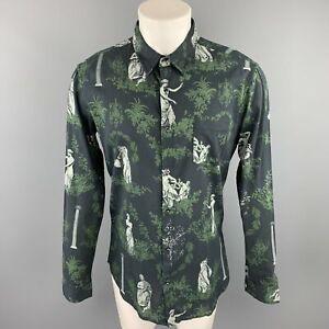 OSKLEN-Size-S-Navy-amp-Green-Print-Cotton-Button-Up-Long-Sleeve-Shirt
