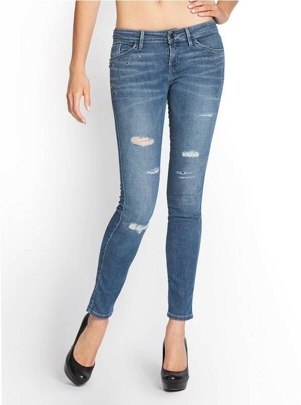 Guess Women's Brittney Mid Rise Ankle Skinny Repaired Jeans Size 27