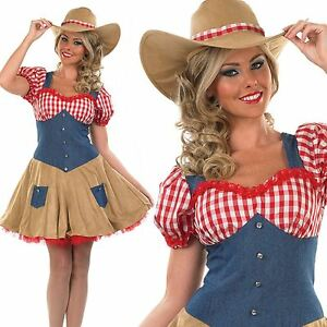 WOMENS-LADIES-COWGIRL-OUTFIT-amp-HAT-WILD-WEST-WESTERN-RODEO-FANCY-DRESS-COSTUME
