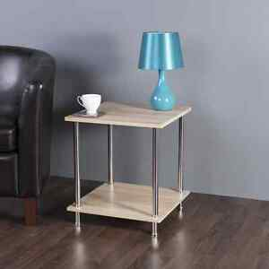 Oak effect square side table high gloss coffee or lamp table for Oak lamp table 60cm high
