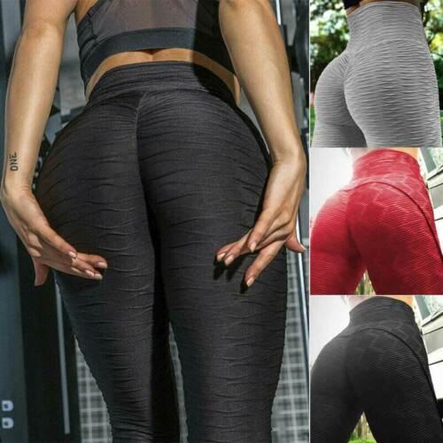 Women Butt Lift Ruched Yoga Pants High Waist Anti-Cellulite Leggings Gym Fitness
