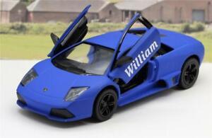 PERSONALISED NAME Blue Lamborghini Boy Toy Dad Model Car Birthday Present Gift