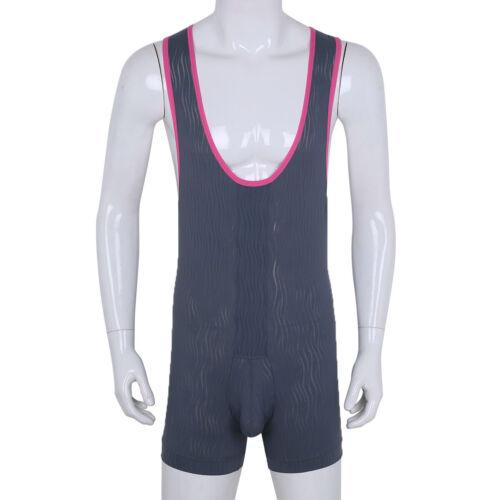 Men Bodysuit Jumpsuit Wrestling Singlet Lingerie Underwear Thong Leotard Fitness