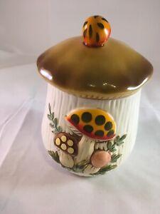 Vtg-Small-Merry-Mushroom-Canister-Cookie-Jar-Sears-Roebuck-Ceramic-Japan-1983