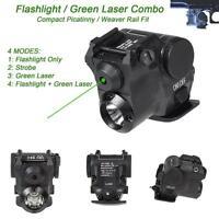 Tactical Compact Green Laser Led Flashlight W/ Strobe Fit Standard 20mm Rail