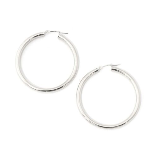 40mm 14k White Gold 3mm Polished Hoop Earrings 1.5/""