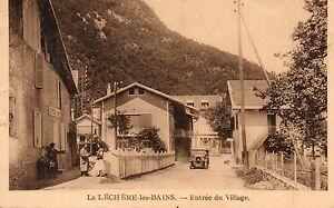 73-LA-LECHERE-LES-BAINS-Entree-du-village-tacot-auto-salon-coiffeur-1936