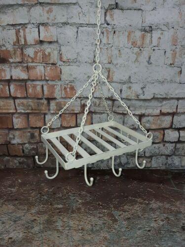 Vintage Shabby Chic Style Rustique Métal plafond suspendue Cuisine Ustensile Rack