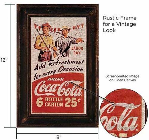 Coca-Cola Leinen Bild im Retro Nostalgic Look 20x30 neu