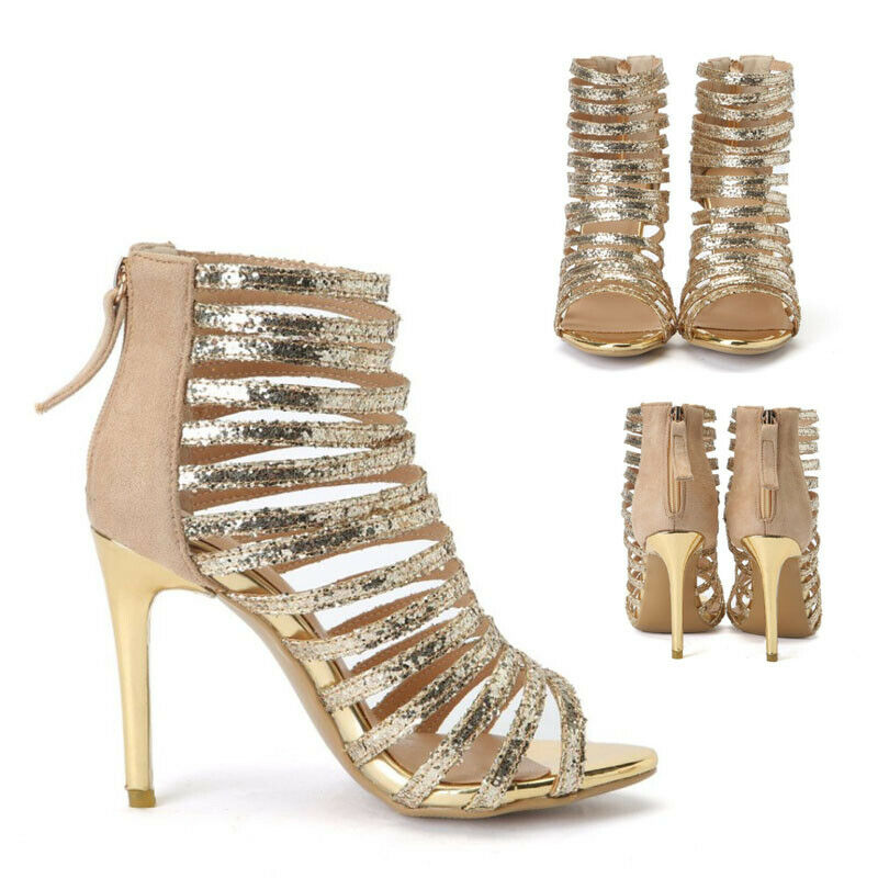 Lady Back Zipper Strap High Stiletto Heel Sexy Party Glitter Sandals shoes New