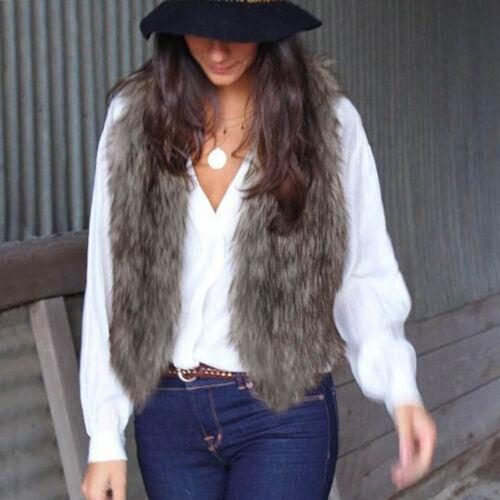 Women Retro Vest Sleeveless Fur Coat Outerwear Long Hair Jacket Waistcoat