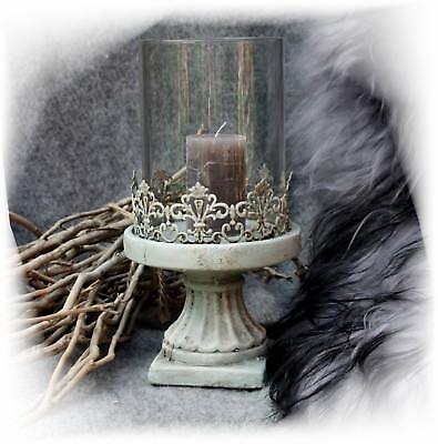 Barock Kerzen-halter grau Metall GLAS Shabby Antik Laterne Windlicht Keramik