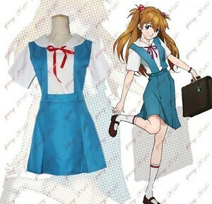New Evangelion EVA Ayanami Rei Asuka Cosplay Dress School Uniform Costume