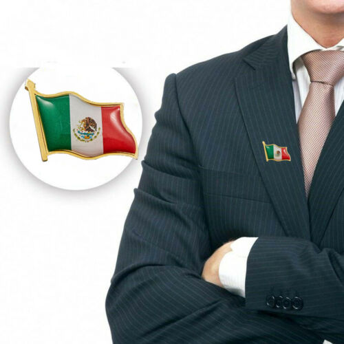 Mexico Waving Flag Lapel Pin W// Butterfly Pin Backs Tie Clip Accessoiries