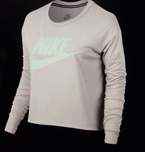 547a6876bf129e Nike Sportswear Essential Long Sleeve Women s Crop Top Pink White XL ...