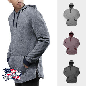 Mens Comfy Classic Pullover Hoodie Marled Fleece Solid Sweater