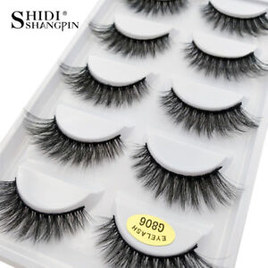 2acaf10a1d4 5 Pairs 100% Real Mink 3D Volume Thick Daily False Eyelashes Strip ...