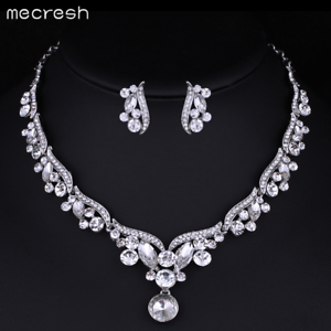 ebc7d5dca3 Details about Mecresh Women Crystal Wedding Necklace Earring Set Bridal  Jewelry Set for Women