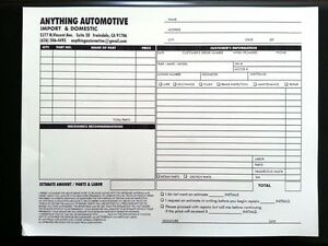 100 custom printed 2 part carbonless ncr automotive forms invoices