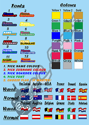 RC Name Decals Stickers with International Flag Icons