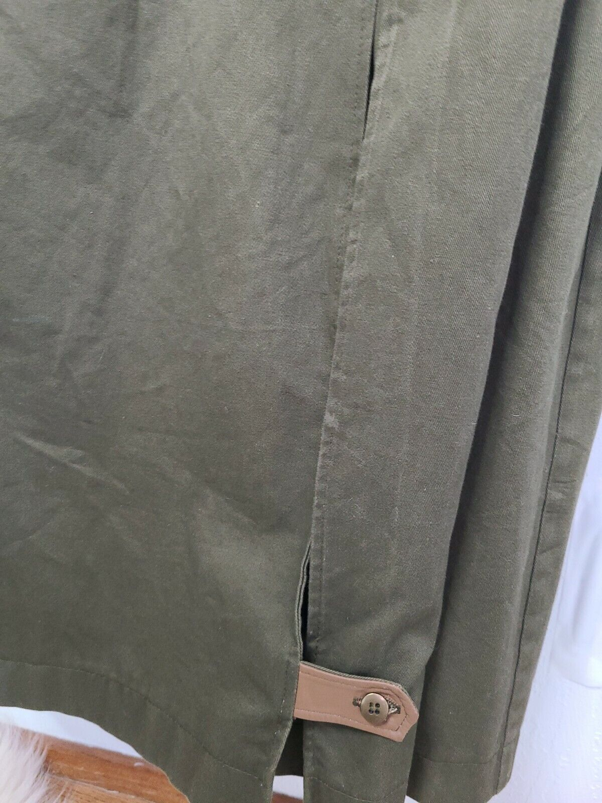 Classic Military Style Trench Coat, Olive Army Gr… - image 9