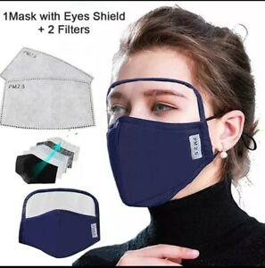 Masque de protection, barrière, alternatif, en tissu avec visière lavable.