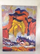 Colorful Chinese Mountain Landscape Painting - Original Oil on Canvas Board